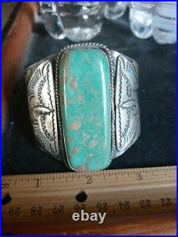 Rare Wow Pawn Huge Navajo Sterling Fred Harvey New Mex Green Turquoise 74grms