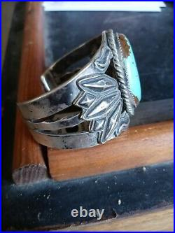 Rare Wow Pawn Huge Navajo Sterling Fred Harvey Wing Cuff #8 Turquoise