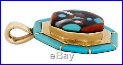 Rare Zuni Signed Wayne Quam Inlaid Natural Gemstone 14k SOLID Gold Pendant