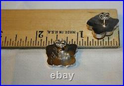 Rare Zuni Wallace Sterling Silver Turquoise Mop Dessert Rose Flower Earrings