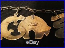 SALE! RARE Joe Delgarito ALV Navajo Sterling Silver Charm Bracelet 27.9 g