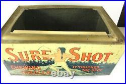 SURE SHOT Chewing Tobacco Dispensing TIN Store Bin Native American Litho RARE