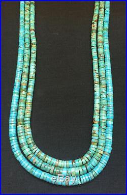 Santo Domingo Rare Natural Kingman Turquoise Heishi Necklace Ray Lovato