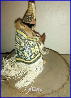 Shona Hah Lelooska Native American Hand Carved Doll 1930-70 rare miniature 4.5