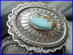 Signed Rare Navajo Native American 8 Turquoise Sterling Silver Concho Belt