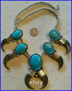 Squash Blossom Necklace Sterling Bisbee Turquoise HANDMADE Very Rare, 220 grams