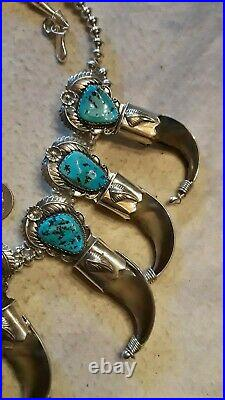 Squash Blossom Necklace Sterling MORENCI Turquoise HANDMADE Very Rare, 300 grams
