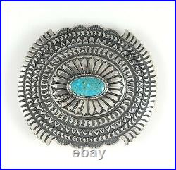 Sunshine Reeves Navajo Concho Belt Buckle Sterling Silver Rare Kingman Turquoise