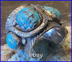 Super Rare Early Zuni DAN SIMPLICIO Massive Sterling & Turquoise Snake Ring 32G