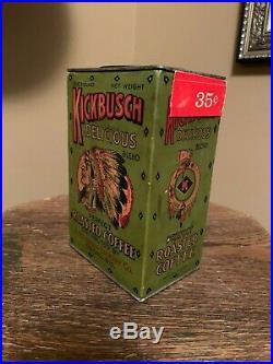 Super Rare Kickbusch coffee cardboard tin Native American Wausau Wisconsin L@@K