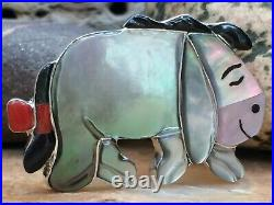 Super Rare Zuni Sterling Abalone Coral Mop Onyx Eeyore Winnie The Pooh Ring 7.5