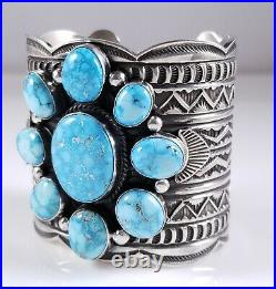 Turquoise Cluster Navajo Sterling Silver Bracelet Rare Web Kingman Andy Cadman