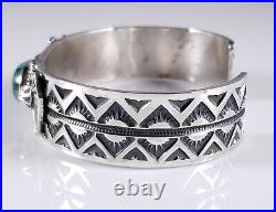 Turquoise Navajo Sterling Silver Bracelet Rare Hubei Handmade By Andy Cadman