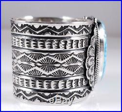 Turquoise Navajo Sterling Silver Bracelet Rare Web Kingman By Sunshine Reeves