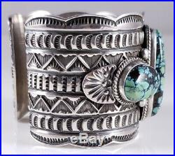 Turquoise Navajo Sterling Silver Bracelet Row Rare Web Hubei By Andy Cadman