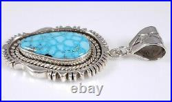 Turquoise Navajo Sterling Silver Pendant Rare Water Web Kingman By Ned Nez