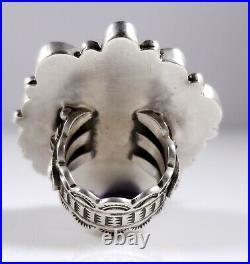 Turquoise Navajo Sterling Silver Ring Rare Gem Grade Fox Handmade Donovan Cadman