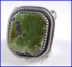 Turquoise Navajo Sterling Silver Ring Rare Green Tree Handmade Derrick Gordon