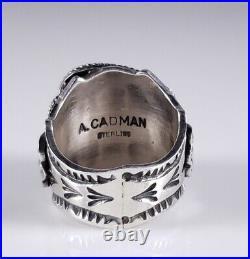 Turquoise Navajo Sterling Silver Ring Rare High Grade Fox Handmade Andy Cadman