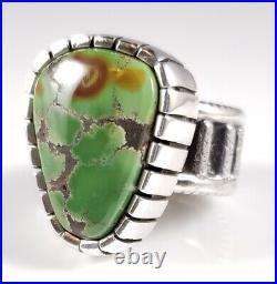 Turquoise Sterling Silver Navajo Ring Rare Gem Grade Grasshopper By Bryan Joe