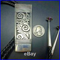 Ultra RARE Michael Kabotie LOMAWYWESA Sterling Silver Overlay BOLO Cord and Tips