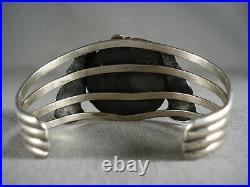 Ultra Rare Apache Turquoise Vintage Navajo Silver Leaf Bracelet