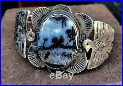 Unique Rare Early Harvey Era Navajo Petrified Wood Bracelet Thunderbird