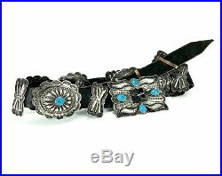 VERY RARE Benson Yazzie Navajo Sterling Concho Belt with Turquoise Cabochons