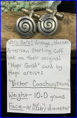 VERY RARE! Hopi Victor Coochwytewa Sterling Silver Hopicraft CuffLinks, 10.0g