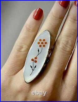 VERY RARE Vintage Zuni Jim Paywa Sterling Silver Coral & MOP Inlay Ring