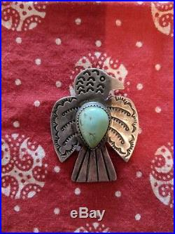 VINTAGE Navajo Thinderbird pin with Turquois Stone! Super RARE! 1930'S
