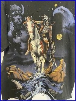 VINTAGE RARE 1998 LIQUID BLUE NATIVE AMERICAN T SHIRT SZ L, Single Stitch