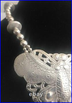 VINTAGE STERLING SILVER BUTTERFLY BEAD NECKLACE RARE 19 inches long