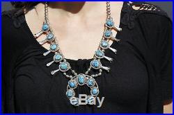 VTG Navajo RARE Indian Artist Bobby Etsitty MORENCI Turquoise. 925 Silver Squash