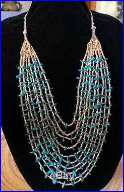 VTG RARE 10-Strand Native American Necklace KINGMAN Turquoise Sterling Old Pawn