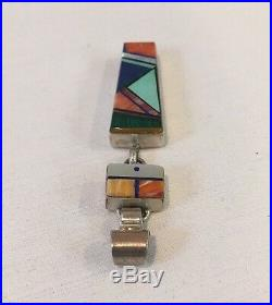 VTG RARE Navajo Marilyn Yazzie Silver Pendant With Spiny Oyster Turquoise Coral