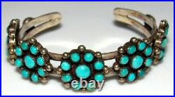 VTG Rare Zuni Turquoise Cluster Cuff Bracelet Old Pawn Native American