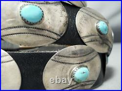 Very Rare Baseball Concho Turquoise Sterling Silver Vintage Navajo Belt