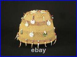 Very Rare Chehalis Indian Hat Basket with beads & shells, Native American c1915