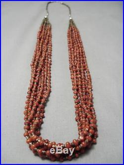 Very Rare Ciruclar Coral Vintage Navajo Sterling Silver Heishi Necklace