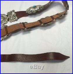 Very Rare Collectible Navajo Benson Yazzie Blue Turquoise 925 Concho Silver Belt