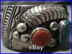 Very Rare Colorado Turquoise Vintage Navajo Sterling Silver Bracelet Old