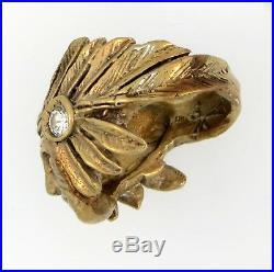 Very Rare Heavy 14k Gold & Ruby Signed Johnny Blue Jay Hopi Indian Chief Ring