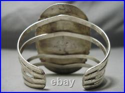 Very Rare Huge Vintage Navajo Old Morenci Turquoise Sterling Silver Bracelet Old