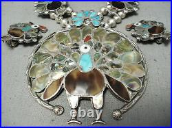 Very Rare Turkey Vintage Zuni Turquoise Sterling Silver Squash Blossom Necklace