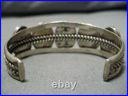 Very Rare Vintage Navajo Bisbee Turquoise Sterling Silver Bracelet Old