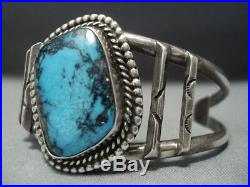 Very Rare Vintage Navajo Blue Diamond Turquoise Sterling Silver Bracelet