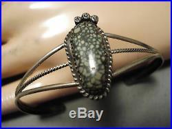 Very Rare Vintage Navajo New Green Lander Turquoise Sterling Silver Bracelet