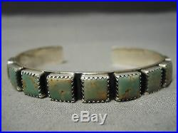 Very Rare! Vintage Navajo Squared Royston Turquoise Sterling Silver Bracelet