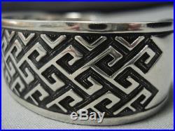 Very Rare Vintage Navajo Sterling Silver Rug Design Bracelet Old
